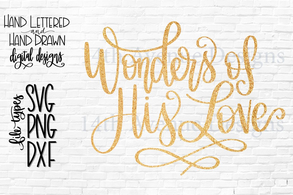 Wonders of His Love SVG, Christmas Card Overlay PNG example image 1