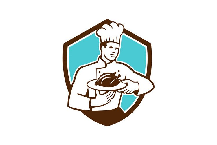 Chef Cook Serving Chicken Platter Shield Retro example image 1