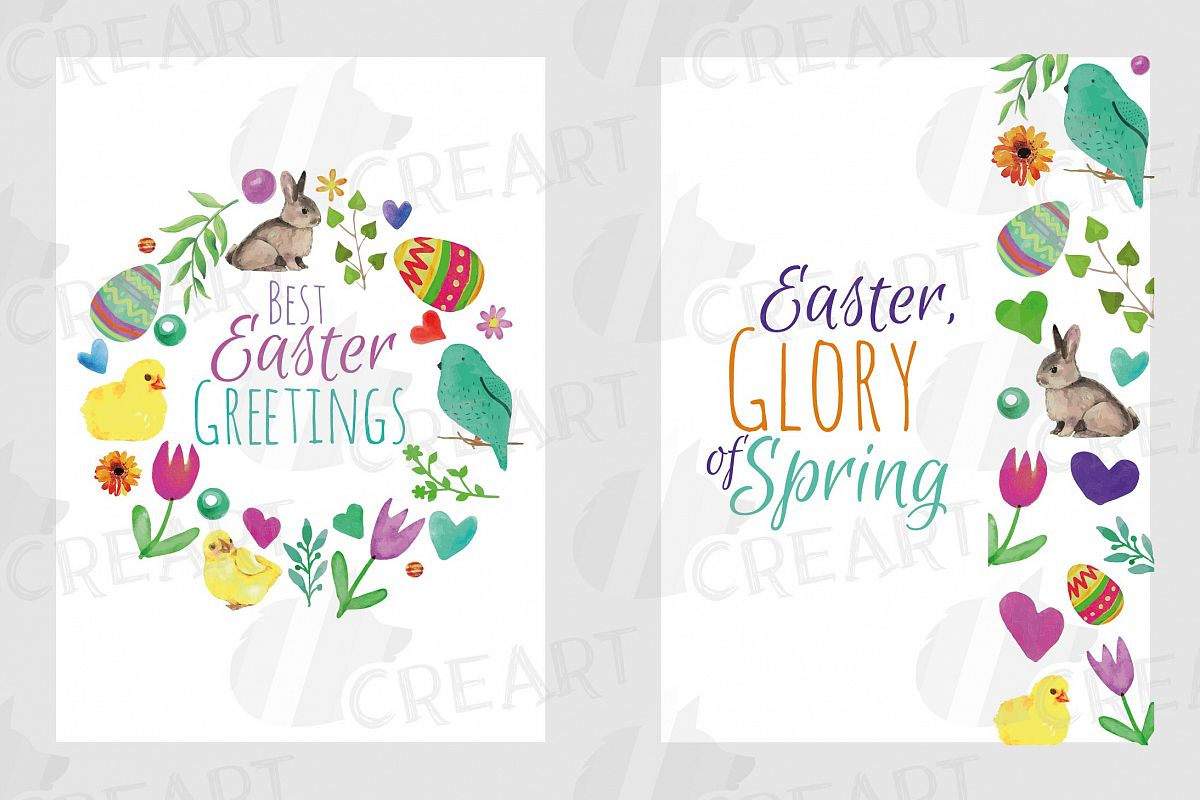 Easter greeting cards, 6 Happy Easter cards, colorful cards example image 1