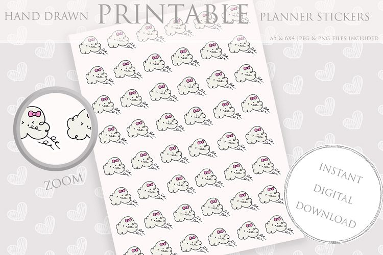 graphic regarding Printable Weather identified as Printable Planner Stickers Wind Cloud Climate Pastel Sticker