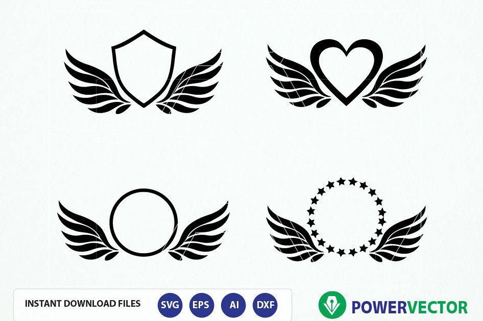 Wings Monogram Frames Digital Cut Files - Svg Ai Dfx Eps Png. Silhouette, Cricut Svg Cutting File. Vector Download - Paper Vinyl Die Cutting example image 1