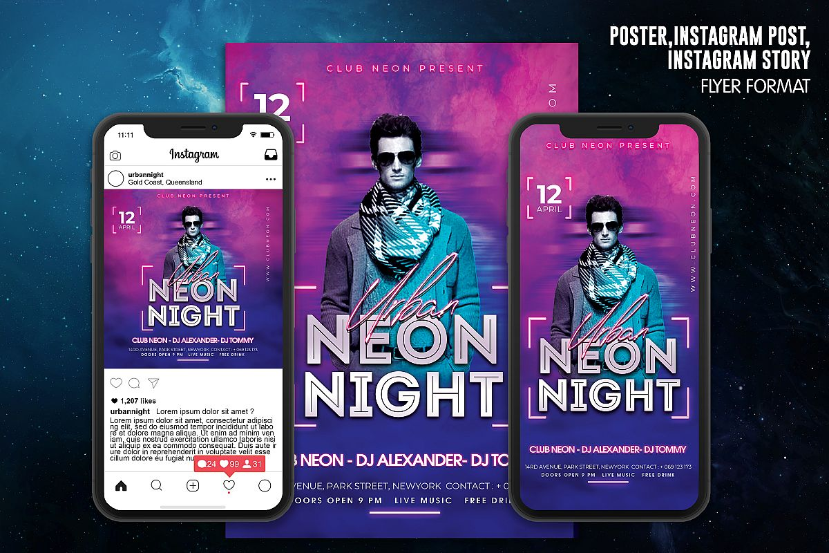 Neon Night Party Flyer Template example image 1