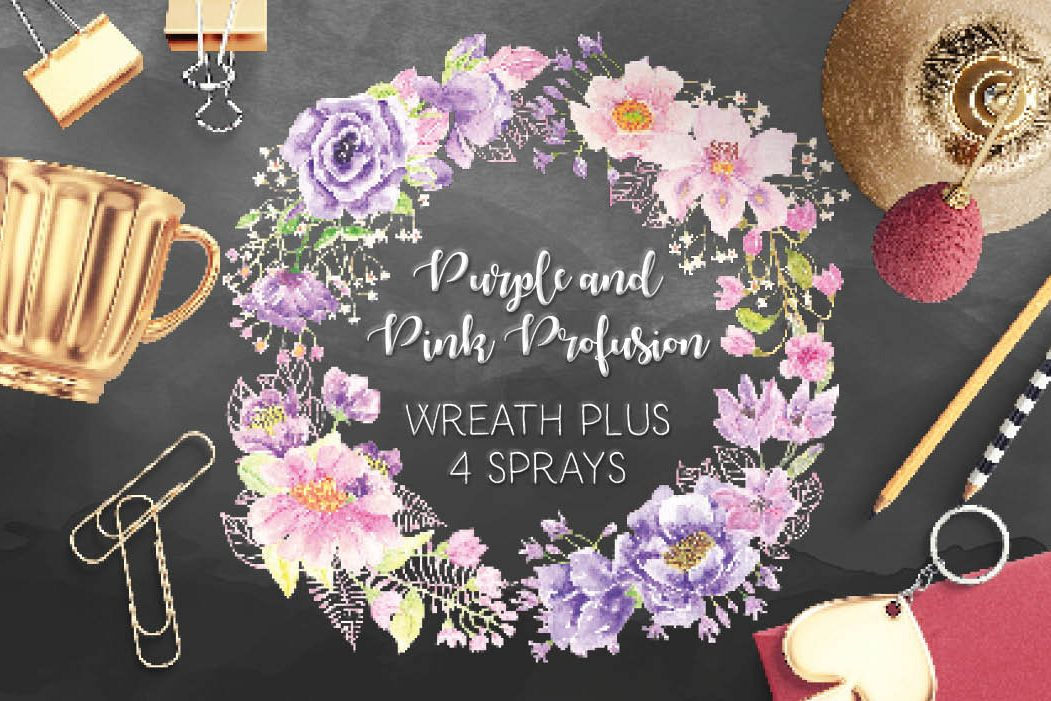Watercolor wreath of purple and pink flowers example image 1