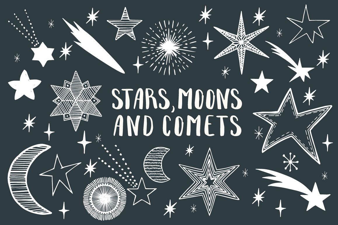 Stars, Moons, Comets - Eps&Png example image 1