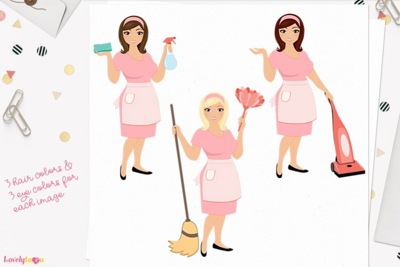 Woman cleaning character clip art L183 Willow example image 1