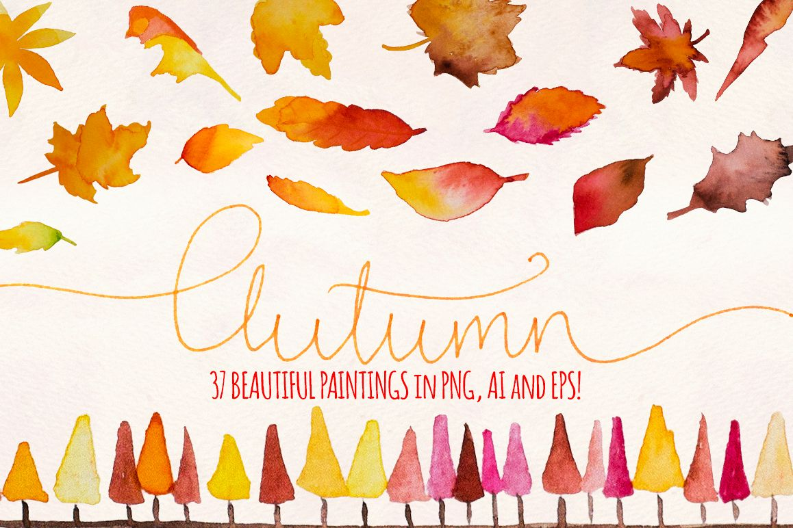 Autumn Leaves 37 Watercolor Elements example image 1