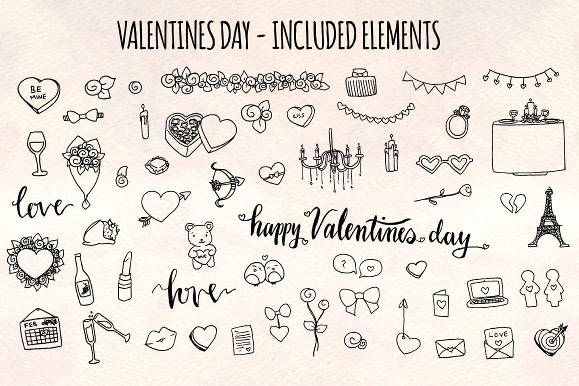 Valentine's Day 56 Romantic Sketch Graphics example image 1