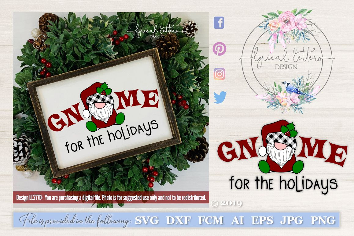 NEW! Gnome For the Holidays Santa Gnome SVG Cut File LL277D example image 1