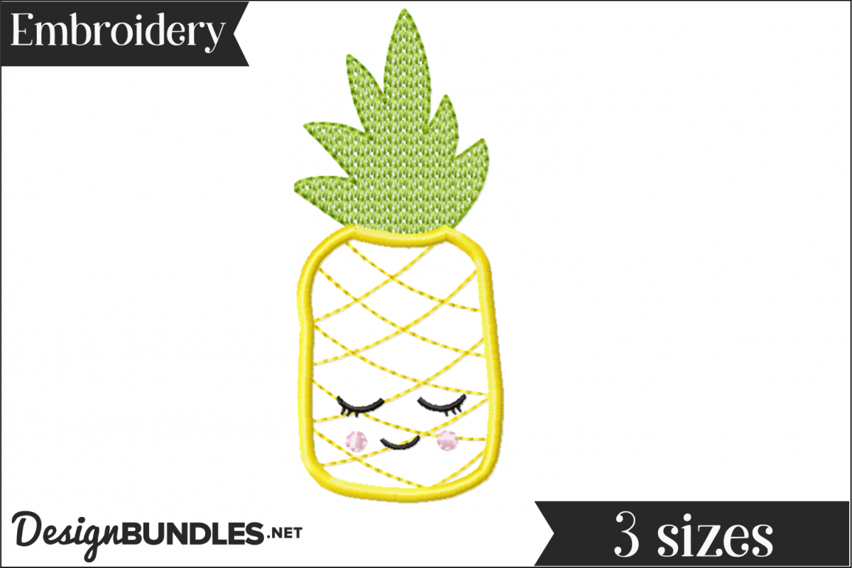 Sleepy Pineapple Applique Embroidery Design example image 1