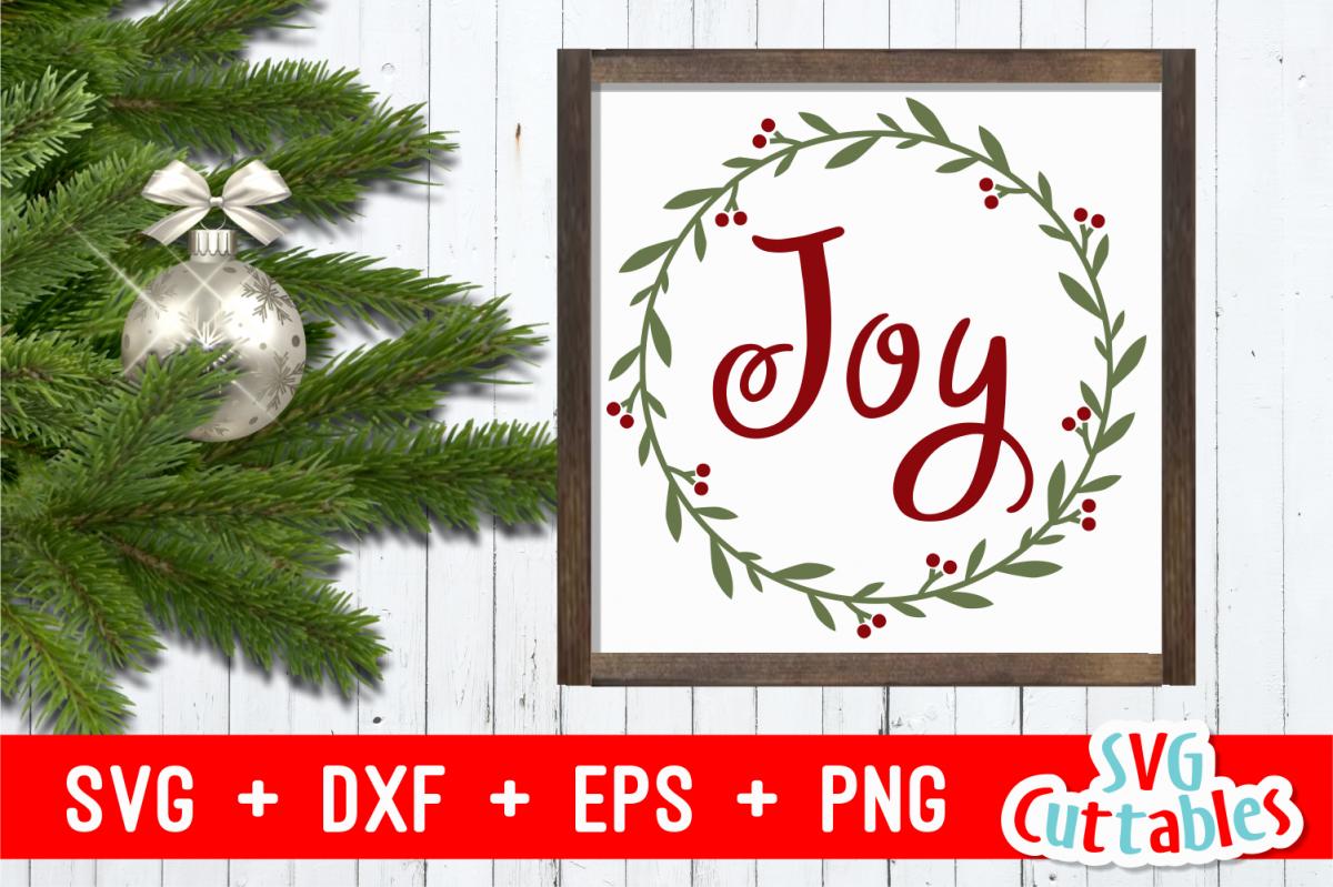 Joy Holly Wreath | Christmas Cut File example image 1