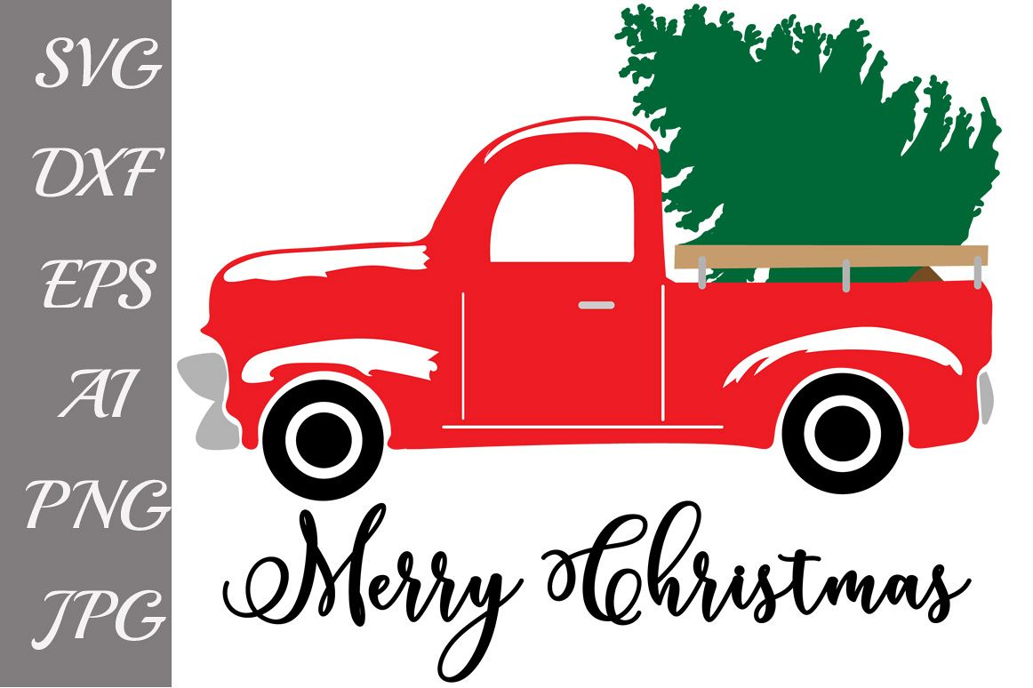 Red Christmas Truck Svg example image 1