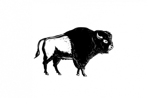 American Buffalo Side Woodcut Black and White example image 1