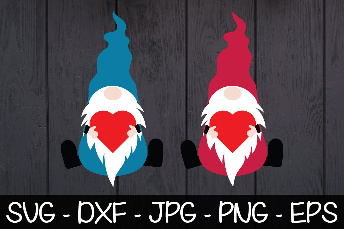 Valentine Gnomes Heart SVG EPS PNG Valentine's Day Gnomes example image 1
