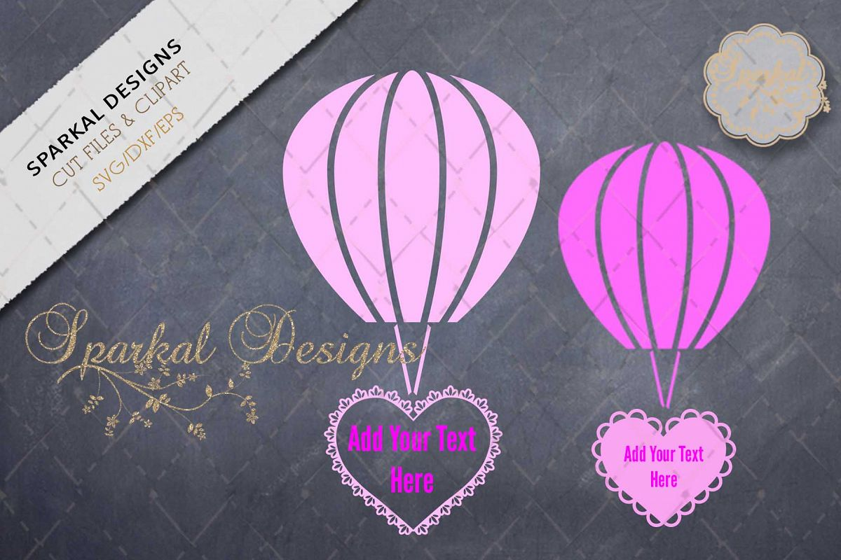 Valentine Hot Air Balloons with Filigre | Design Bundles