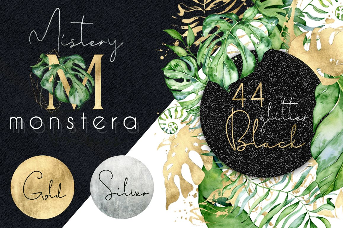 44 Tropical watercolor Frames - Gold, Silver, Black glitter example image 1