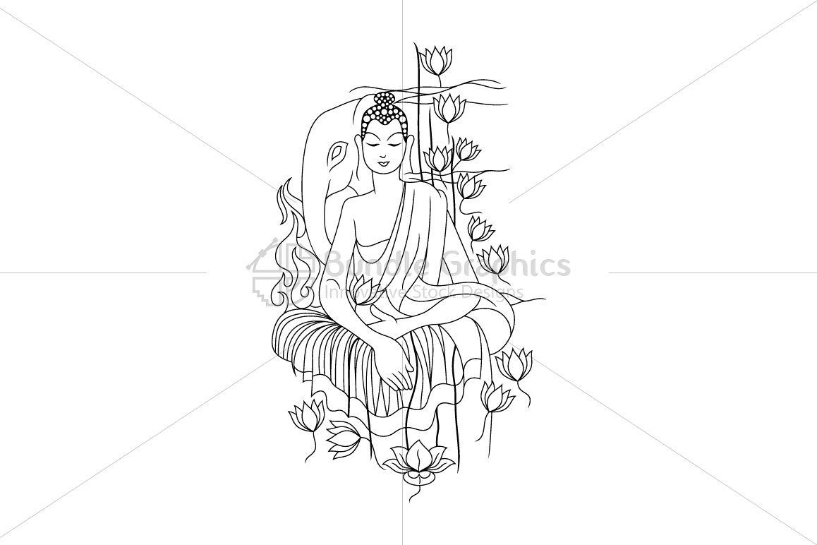 Lord Buddha - Linear Artwork example image 1