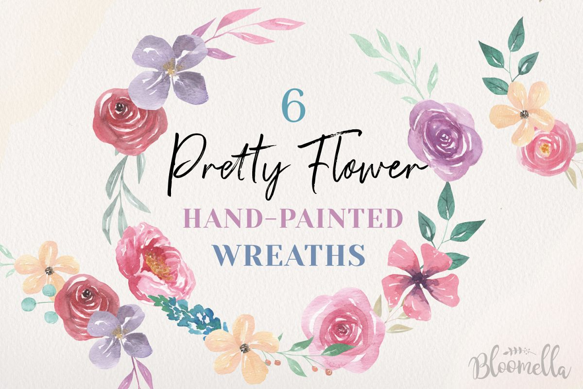 Floral 6 Wreath Watercolor Pink Floral Roses Garlands Flower example image 1