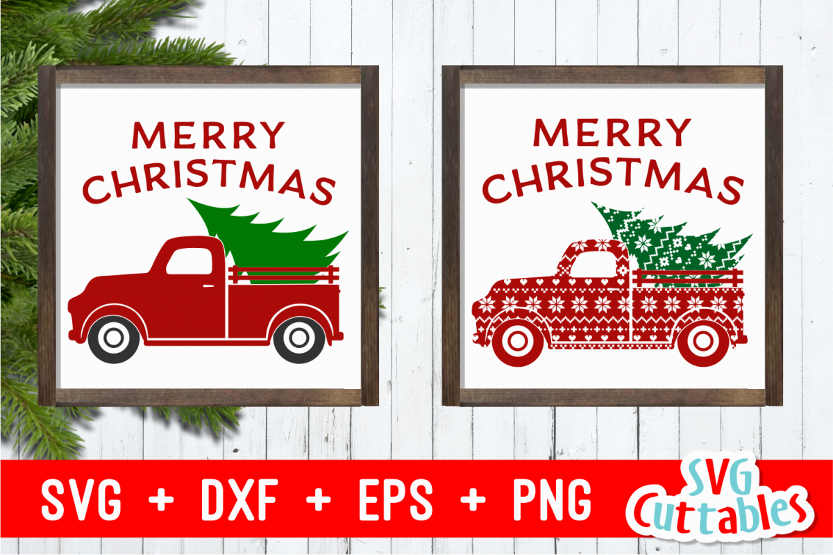 Merry Christmas Truck | Christmas Cut File example image 1