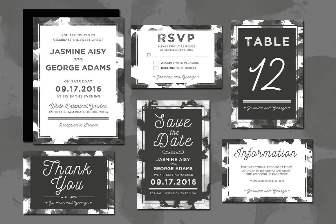 Monochrome Wedding Invitation Suite example image 1