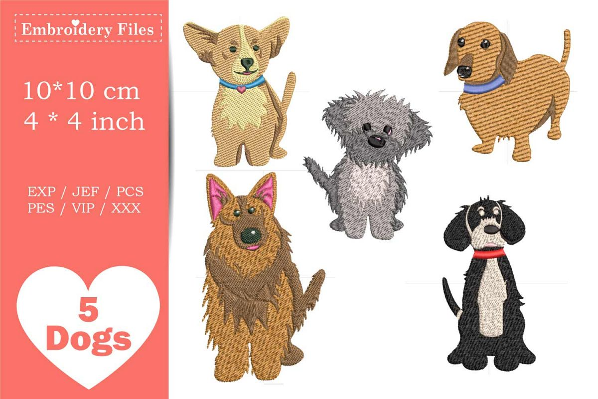 Dogs - Mini Bundle - Embroidery Files example image 1