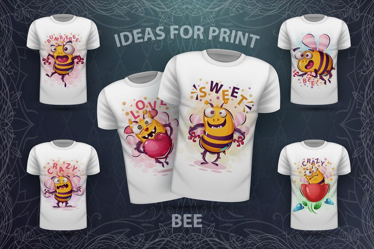 Set crazy bee and monsters example image 1