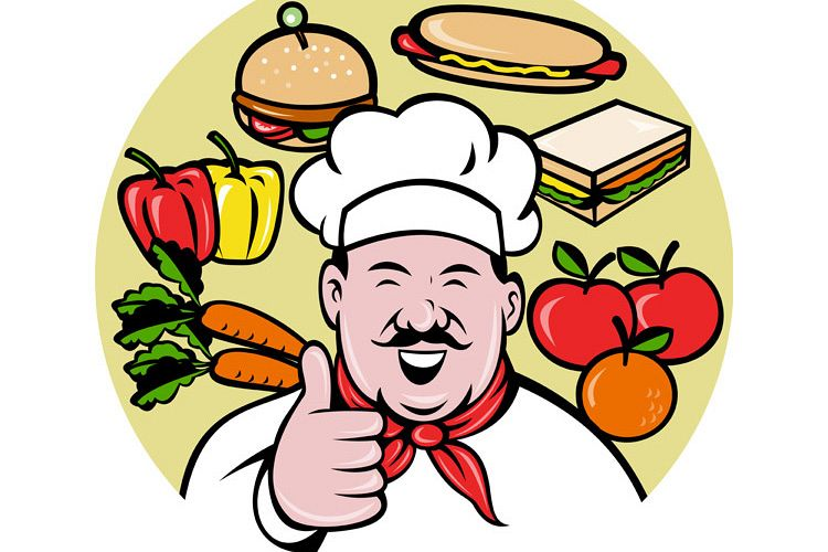 Chef cook baker thumbs up fruit sandwich food example image 1