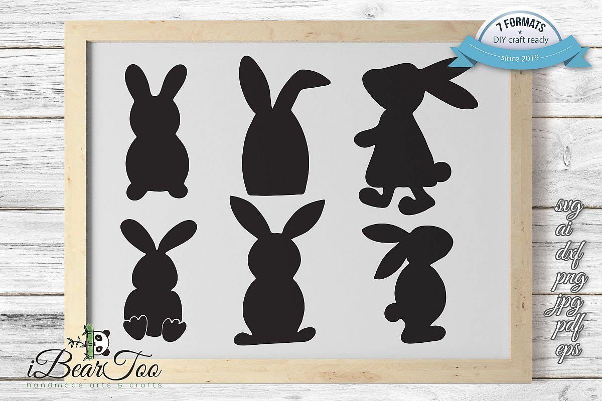 Easter Bunnies SVG Bundle Clipart Rabbits Vector Drawing example image 1