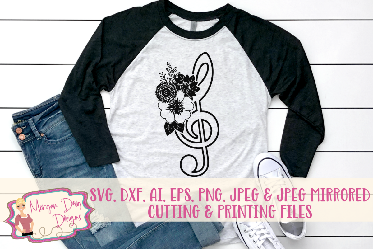 Floral Treble Clef - Band SVG, DXF, AI, EPS, PNG, JPEG example image 1