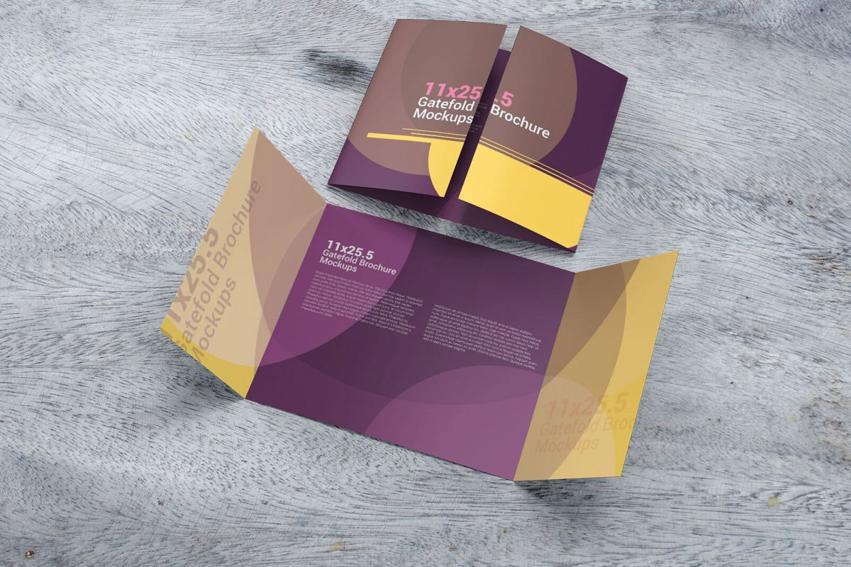 11u00d725 5 Gatefold Brochure Mockups