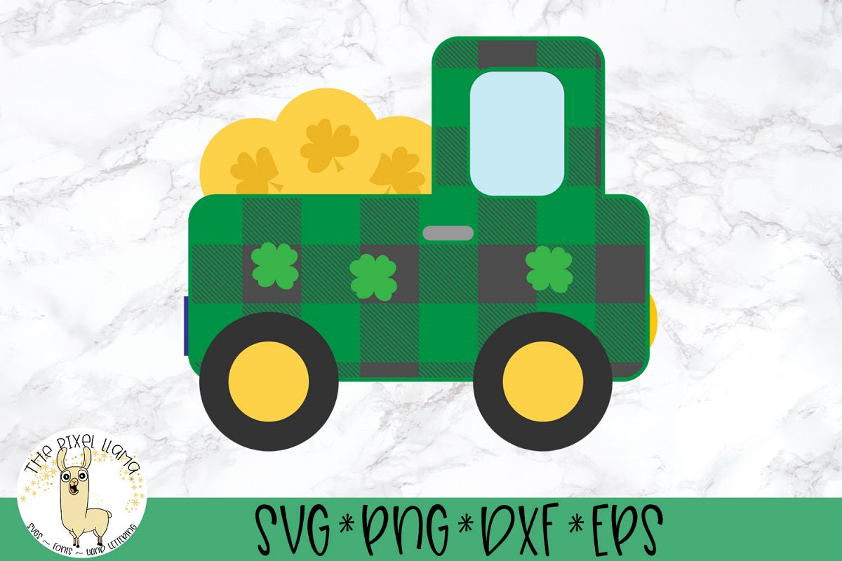 Pot Of Gold Plaid Truck St Patricks SVG Cut File example image 1
