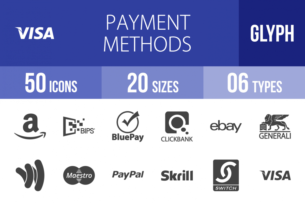 50 Payment Methods Glyph Icons example image 1