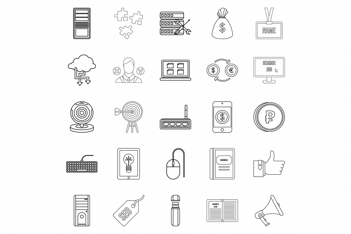 Bank clerk icons set, outline style example image 1