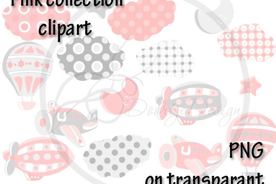 Digital Hot Air Balloon Pink Clipart, Air Plane Clipart, Zeppelin Clipart, Clouds, Moon, Stars example image 1