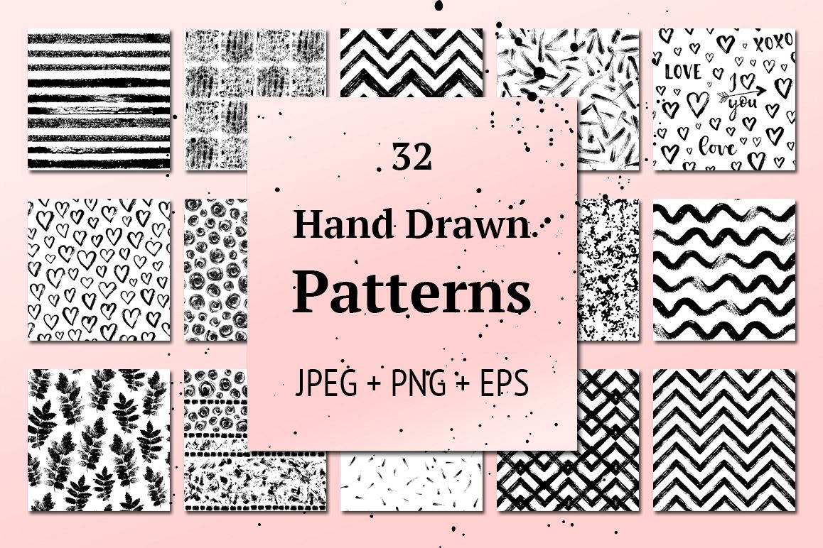 32 Hand Drawn Seamless Patterns example image 1