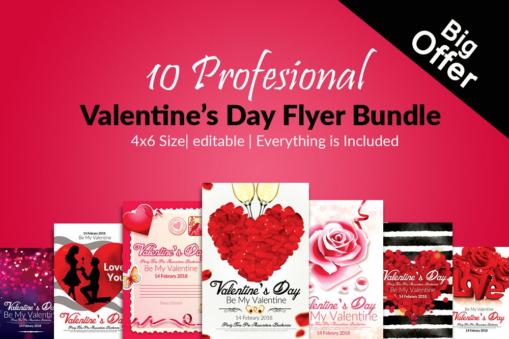 10 Valentines Day Flyer Template Bundle
