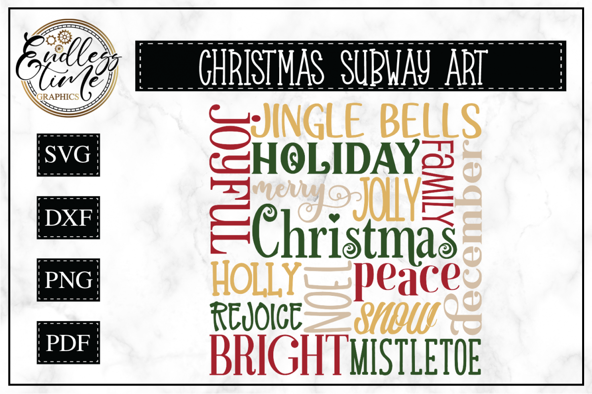 Christmas Word Cloud- Subway Art example image 1