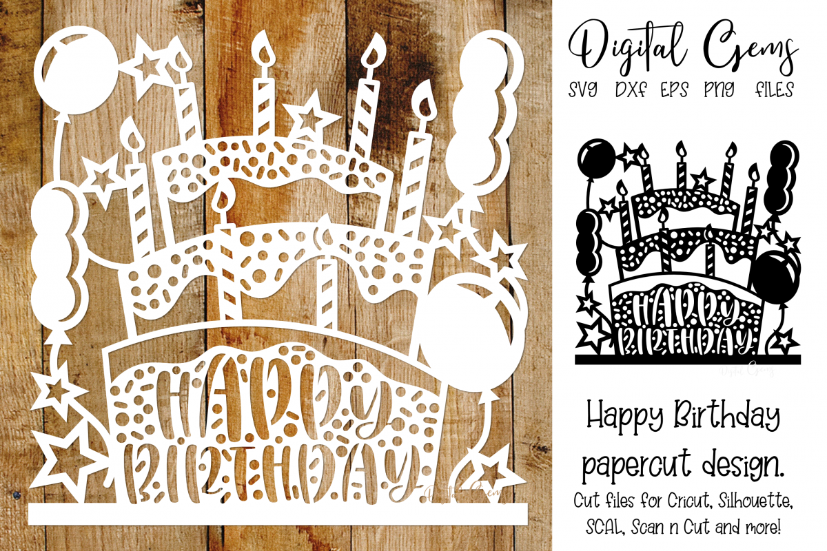 Happy Birthday paper cut design SVG / DXF / EPS / PNG files example image 1