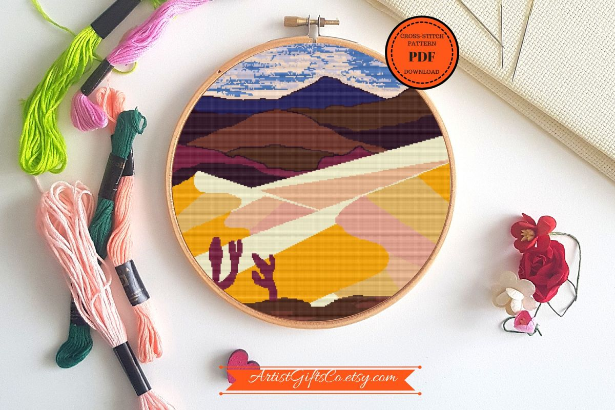 Desert landscape Cross stitch pattern PDF, Great Sand Dunes example image 1