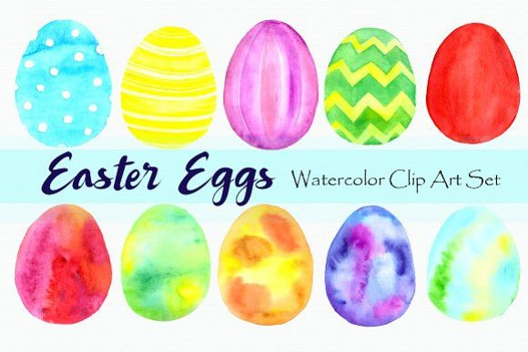 Watercolor Easter Eggs Clip Art Set example image 1