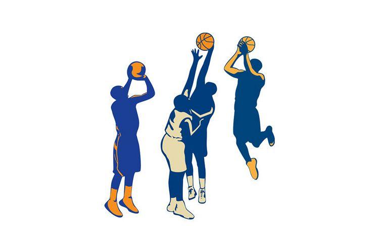 Basketball Player Shoot Ball Retro Collection example image 1