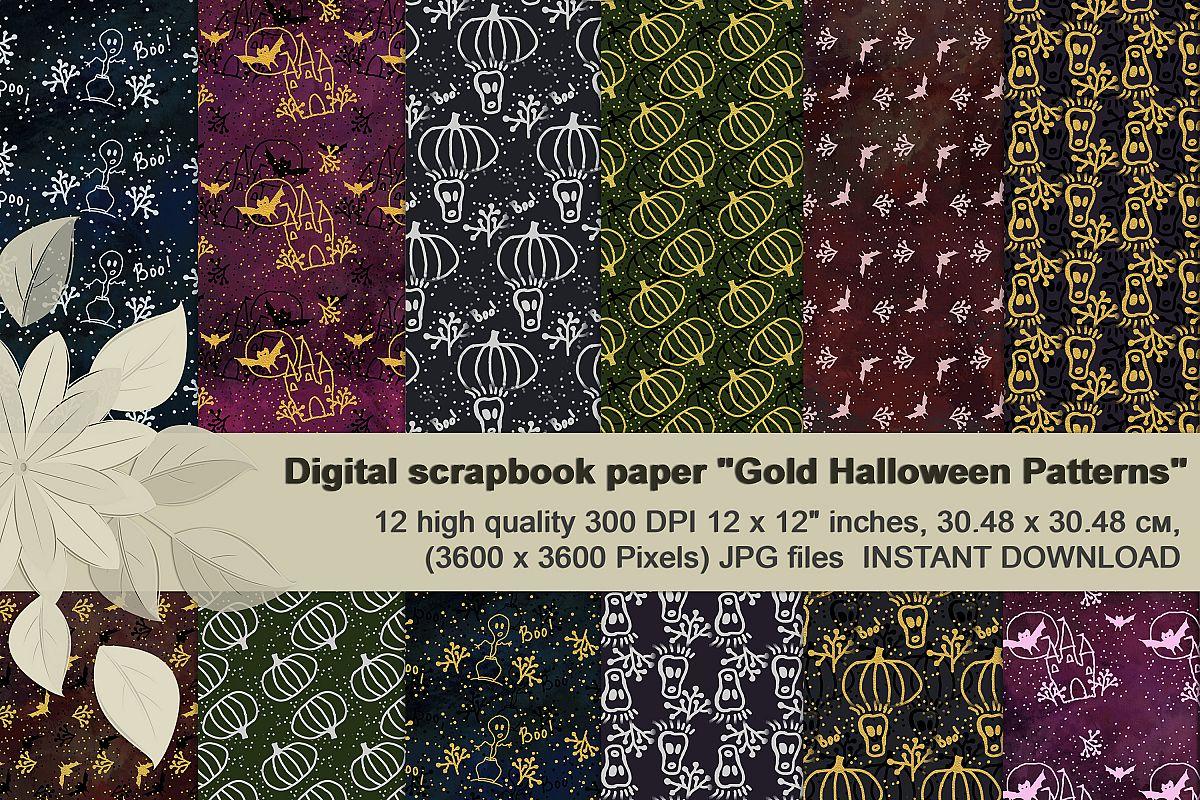 Gold Halloween Digital Paper example image 1