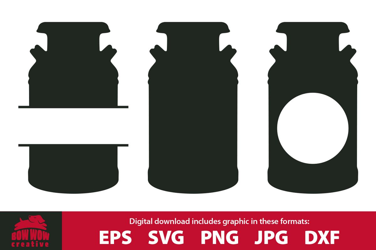 Milk Can Monogram bundle - SVG, EPS, JPG, PNG, DXF example image 1