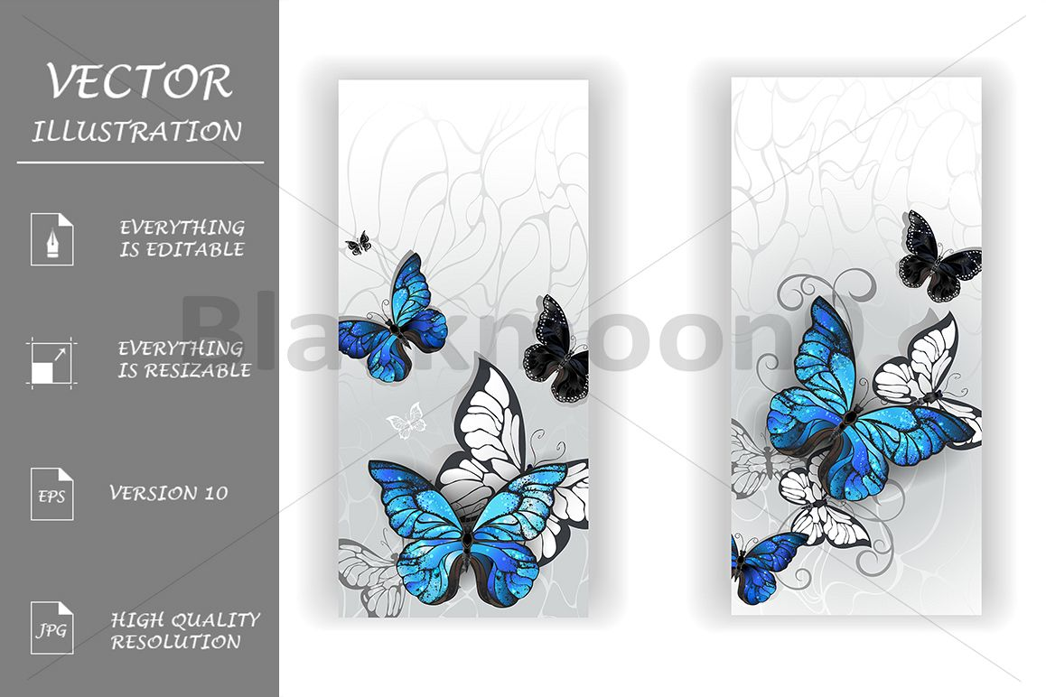 Two Banners with Butterflies Morpho example image 1