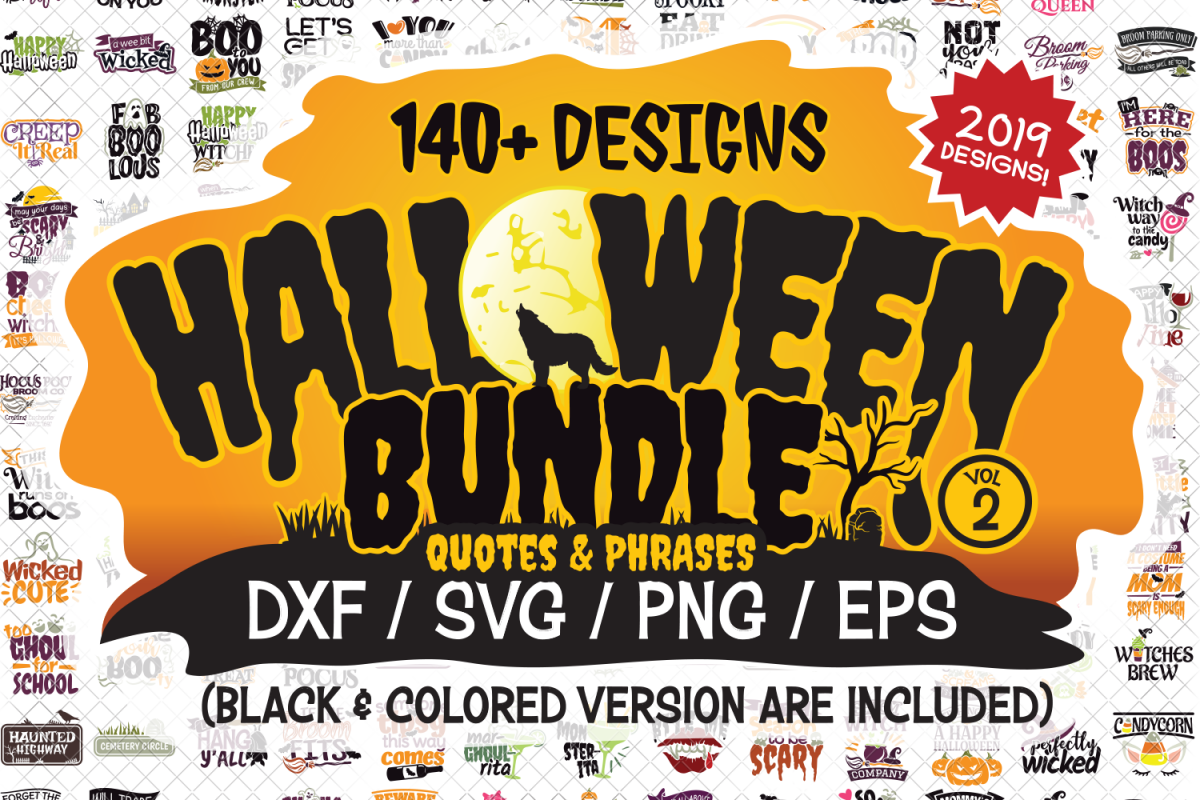 Halloween SVG Quotes & Phrases Bundle in SVG, DXF, PNG, EPS example image 1