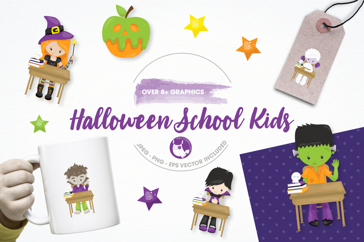 halloween school kids graphics and illustrations example image 1