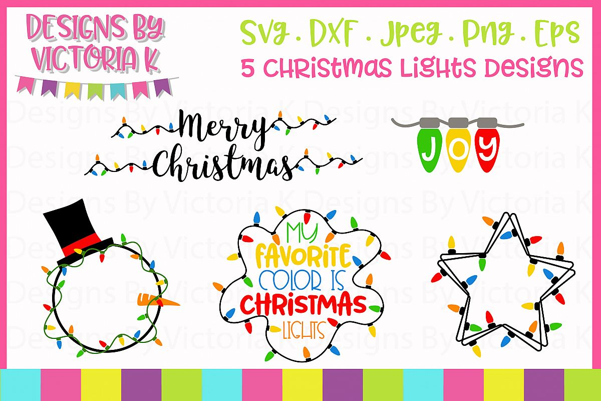 5 Christmas lights designs, SVG, DXF example image 1