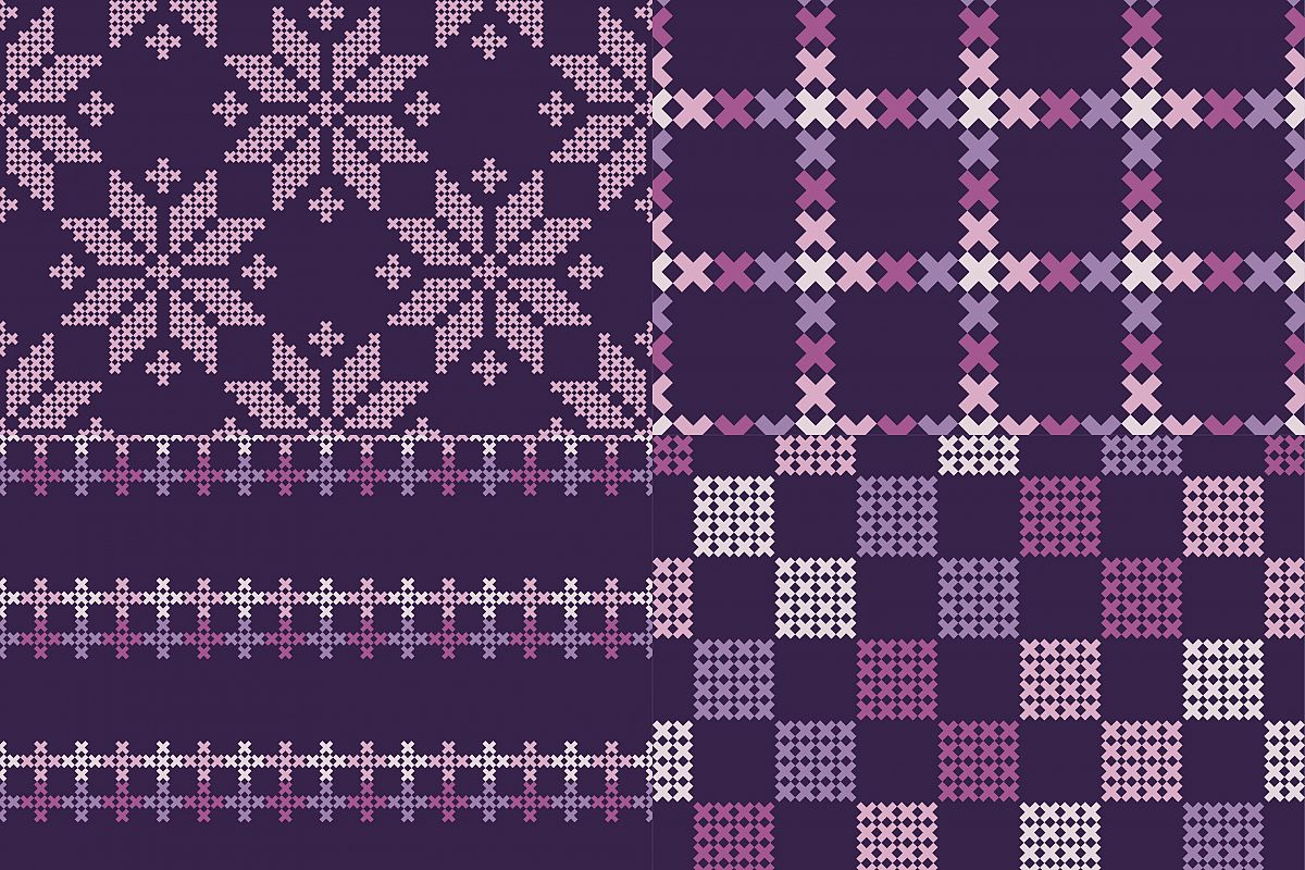 Set of 4 Seamless vector backgrounds cross stitch Norwegian snowflakes.  example image 1