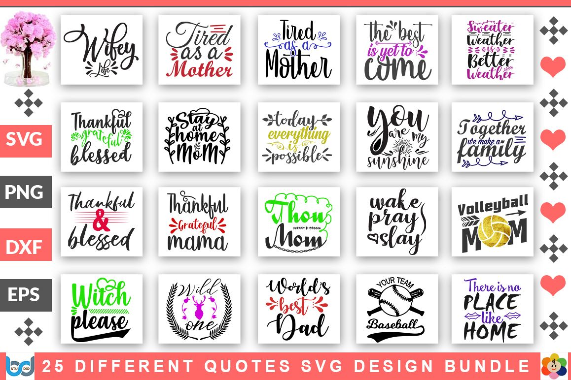 25 Different Quotes SVG Design Bundle example image 1