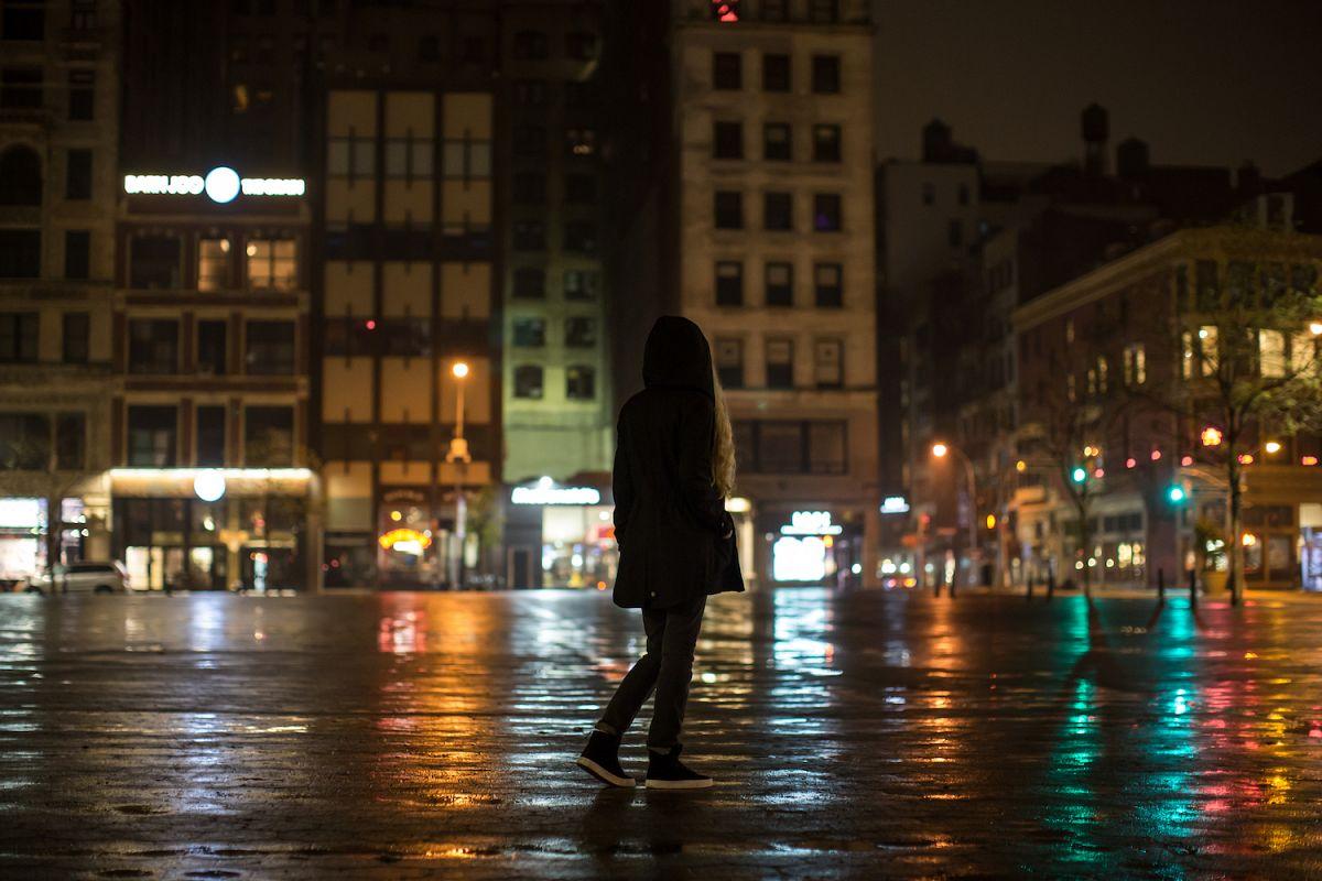 Girl walk night city after rain example image 1