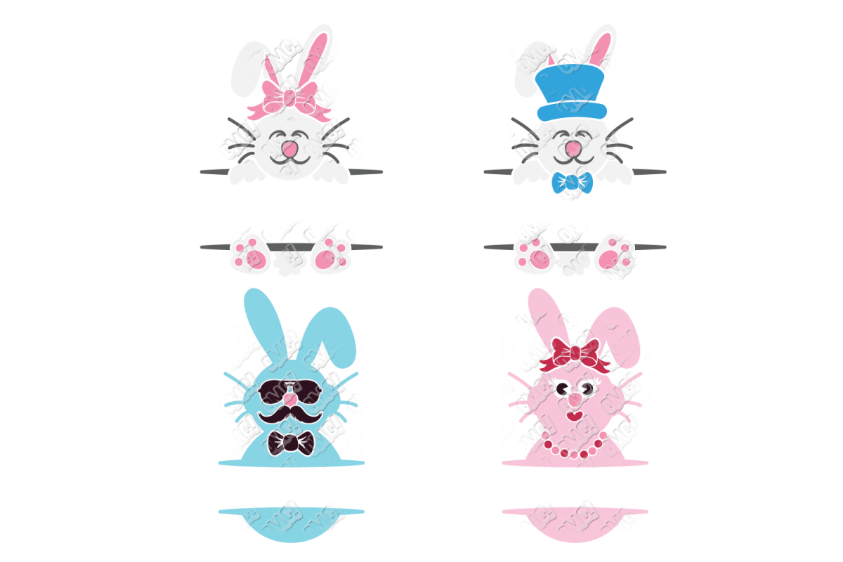 Split Easter Bunny SVG in SVG, DXF, PNG, JPG, EPS example image 1
